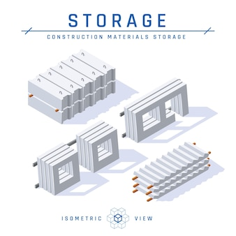 Concrete storage concept, isometric view