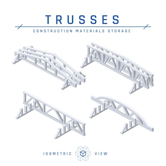 Concrete trusses storage concept, isometric view set of icons for architectural designs