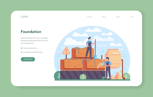Concrete worker web banner or landing page professional builder