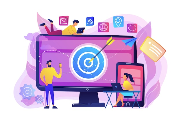 Concumers with devices get targeted ads and messages. multi device targeting, reaching audience, cross-device marketing concept on white background. bright vibrant violet  isolated illustration