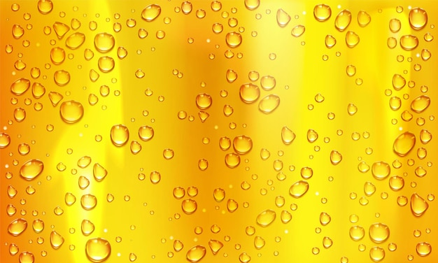 Condensation water or beer droplets on glass yellow background. rain drops on window, abstract wet texture, cold juice or champagne alcohol beverage in wineglass. realistic 3d vector illustration