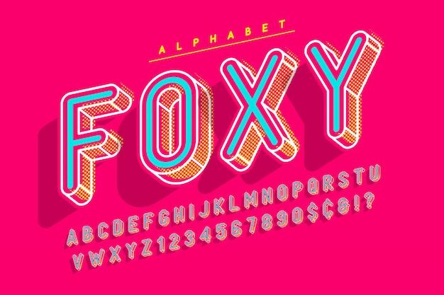 Сжатый дисплейный шрифт popart, алфавит, буквы и онемение