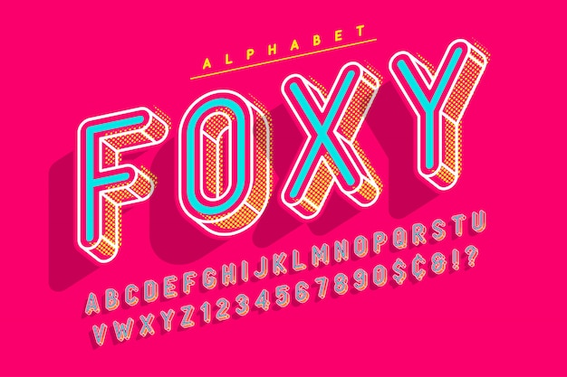 Condensed display font popart , alphabet, letters and numb
