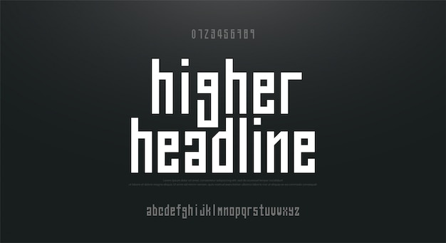 Condensed high, tall simple font alphabet typeface