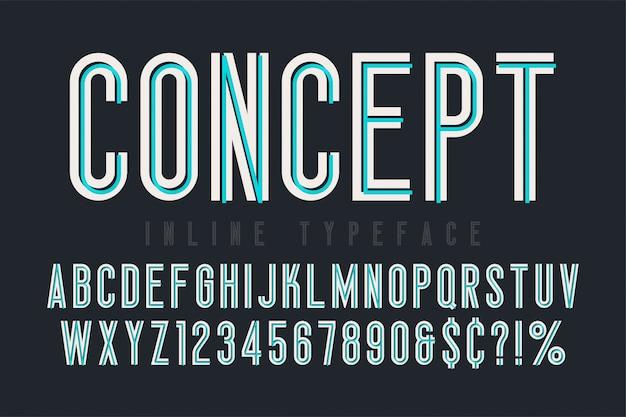 Condensed inline font, typeface, alphabet. original typeset