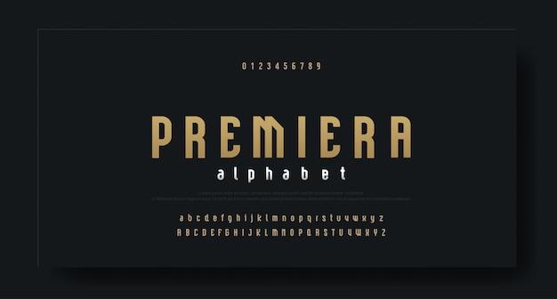 Condensed modern luxury font alphabet typeface