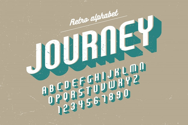 Condensed retro font with alphabet, character set