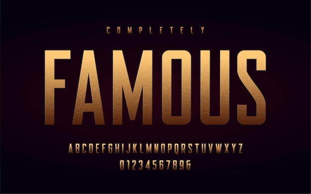 Condensed uppercase letters and numbers, alphabet with effect of the gold foil.