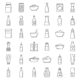Condiment food icons set
