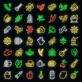 Condiment icons set. outline set of condiment vector icons neon color on black