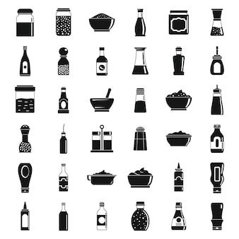 Condiment sauce icons set