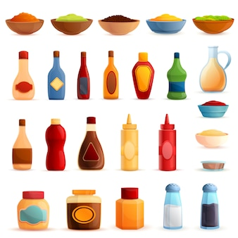 Condiments set, cartoon style