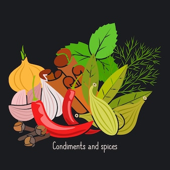 Condiments and spices on dark background