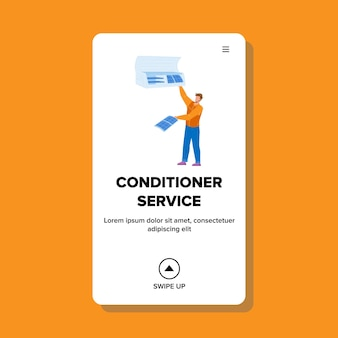 Conditioner service worker repair equipment vector. conditioner service repairman fix and clean electronic device. character repair air conditioning system web flat cartoon illustration