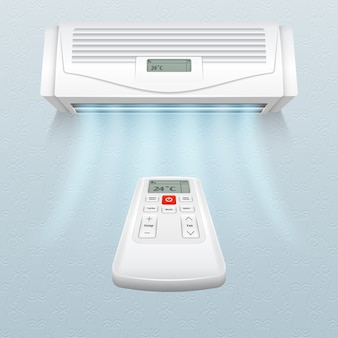 Conditioner with fresh air streams. climate control in home and office vector illustration