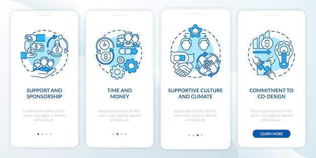 개념이있는 온 보딩 모바일 앱 페이지 화면을 공동 디자인하기위한 조건입니다. 지원, 지원 문화 안내 4 단계 그래픽 지침. rgb 색상 삽화가있는 ui 템플릿