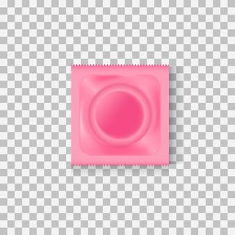 Condom in pink package
