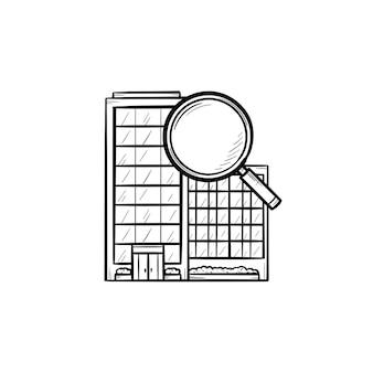 虫眼鏡の手描きのアウトライン落書きアイコンとコンドミニアム。不動産、住宅検索、家賃のコンセプト