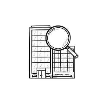 Condominium with magnifying glass hand drawn outline doodle icon. real estate, house search and rent concept