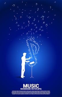 Дирижер и музыкальная мелодия, нота, танцевальный поток. предпосылка концепции для темы песни и концерта.