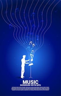 지휘자와 음악 멜로디 노트 댄스 흐름. 노래와 콘서트 테마에 대한 개념 배경입니다.