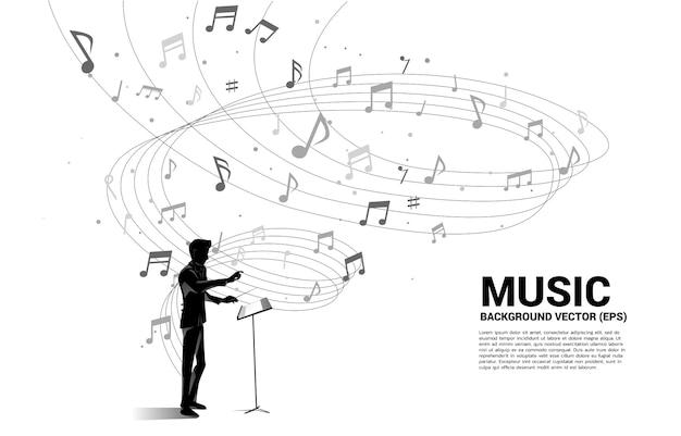 指揮者と音楽のメロディーノートダンスの流れ。歌とコンサートのテーマのコンセプトの背景。