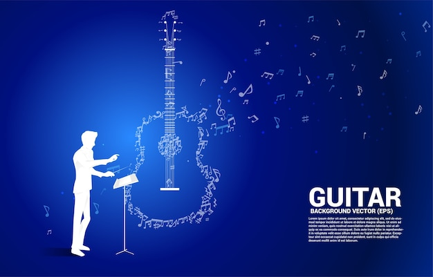 지휘자와 음악 멜로디 노트 춤 흐름 모양 기타 아이콘. 노래 및 기타 콘서트 테마에 대한 개념 배경입니다.