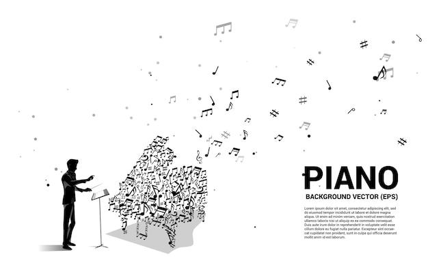 지휘자와 음악 멜로디 노트 춤 흐름 모양 피아노 아이콘. 노래와 콘서트 테마에 대한 개념 배경입니다.
