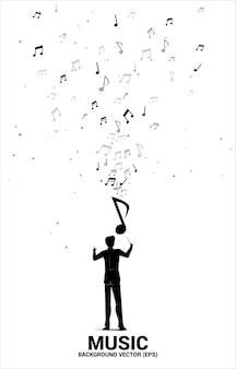 指揮者と音楽のメロディーノートのダンスの流れ。