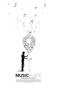 지휘자와 음악 멜로디 노트 모양의 핀 아이콘. 음악 축제 및 콘서트 장소에 대한 개념 배경.