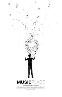 Дирижер и музыкальная мелодия в форме значка булавки. концепция фон для музыкального фестиваля и концертной площадки.
