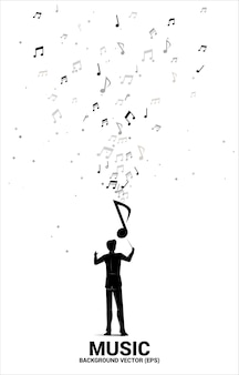 Conductor and music melody note dancing flow.