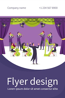 Conductor and musicians standing on theater stage flat flyer template