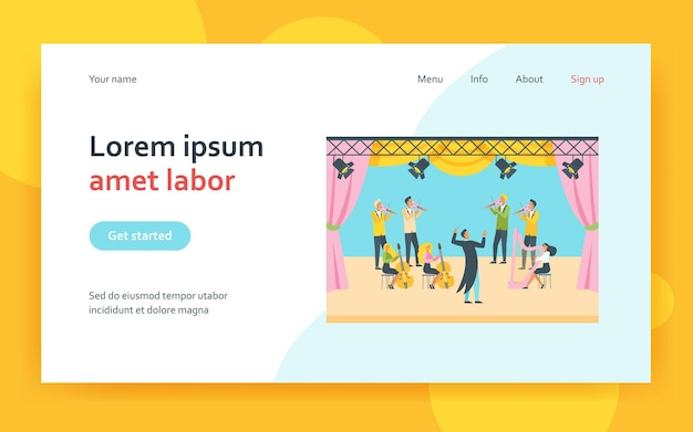 Conductor and musicians standing on theater stage landing page