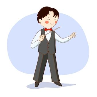 交響楽団の指揮者。指揮棒を手にしたスーツ姿の男。