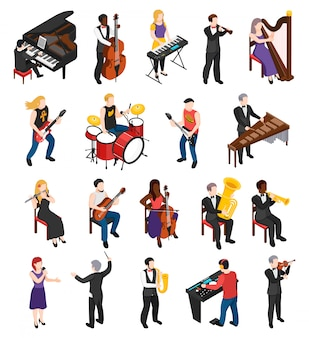 Conductor singer and musicians with stringed wind bowed and percussion instruments isometric people isolated
