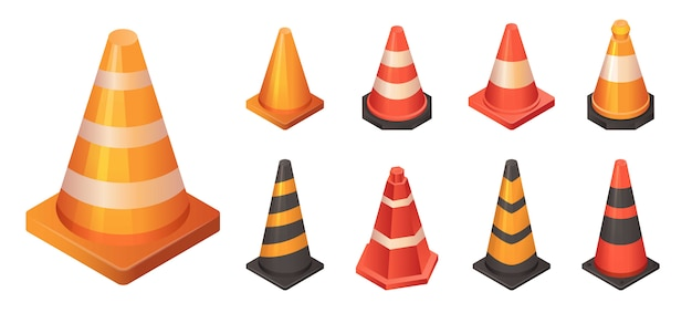 Cone traffic icon set, isometric style