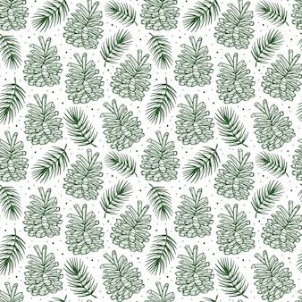 トウヒの枝の松の木の要素のシームレスなパターンとコーン