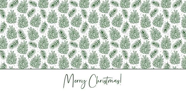 トウヒの枝、松の木の要素のシームレスなパターンとコーン