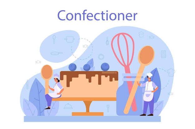 Confectioner concept. professional confectioner chef. sweet baker cooking pie for holiday, cupcake, chocolate brownie. i