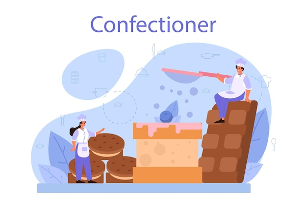 Confectioner concept. professional confectioner chef. sweet baker cooking pie for holiday, cupcake, chocolate brownie.