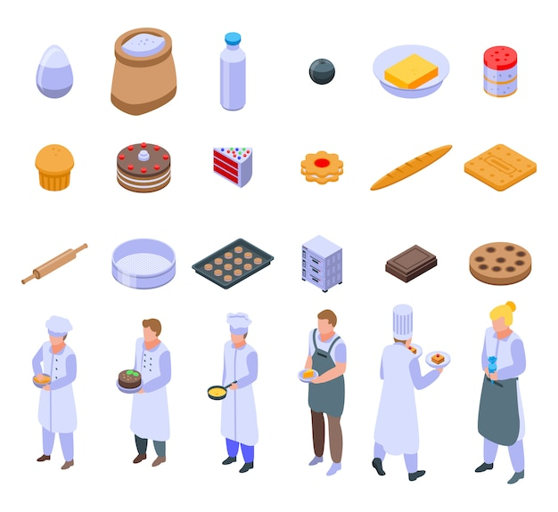 Confectioner icons set