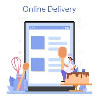 Онлайн-сервис или платформа кондитеров. профессиональный шеф-кондитер. сладкий пекарь готовит пирог на праздник. доставка онлайн.