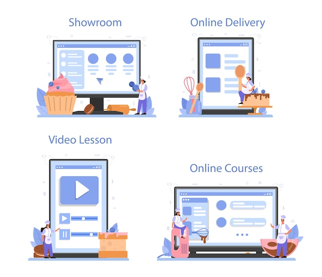 Confectioner 온라인 서비스 또는 플랫폼 세트.