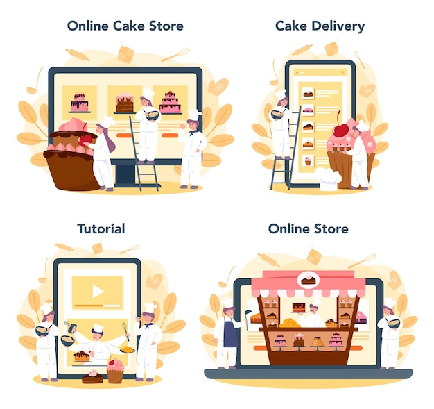 Confectioner online service or platform set. online store, baking tutorial and cake delivery. professional confectioner chef cooking pie for holiday.