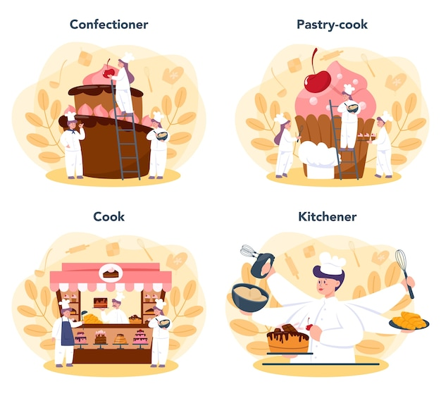 Confectioner set. professional confectioner chef. sweet baker cooking pie for holiday, cupcake, chocolate brownie.
