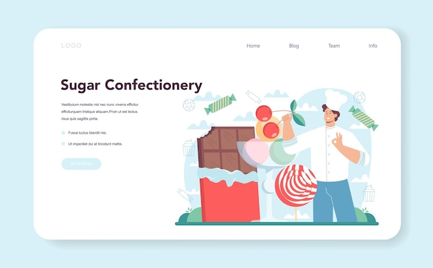 Confectioner web banner or landing page professional pastry chef