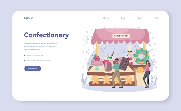 Confectioner 웹 배너 또는 방문 페이지