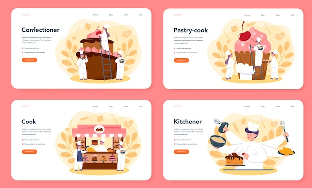 Confectioner web landing page set. professional confectioner chef. sweet baker cooking pie for holiday, cupcake, chocolate brownie. isolated flat vector illustration