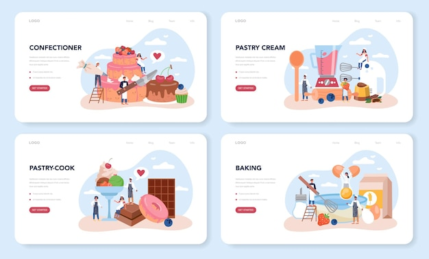 Confectioner web layout or landing page set. professional confectioner chef. sweet baker cooking pie for holiday, cupcake, chocolate brownie.